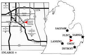 2 maps: State of Michigan map wtih cities near Grand Blanc marked and a map of highways in the region.
